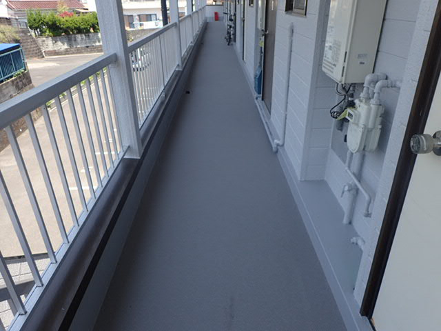 延岡市 アパート 屋根塗装・共用廊下防水改修工事